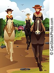 Young people horseback riding in a ranch - A vector...