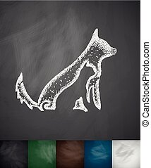 dog and cat icon. Hand drawn vector illustration. Chalkboard...