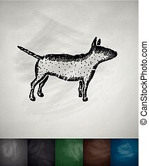 bull terrier icon Hand drawn vector illustration Chalkboard...