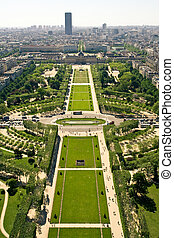 Aerial view on the Champs de Mars from the Eiffel Tower