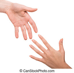 Hands - Image of two hands of man and woman on white...