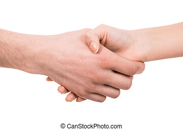 Shaking hands of two people, isolated on white.