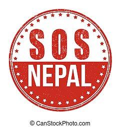 SOS Nepal stamp - SOS Nepal grunge rubber stamp on white...