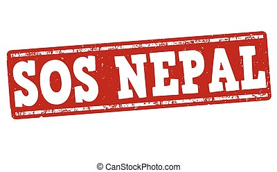 SOS Nepal stamp - SOS Nepal grunge rubber stamp on white...