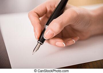 escritura, mano,