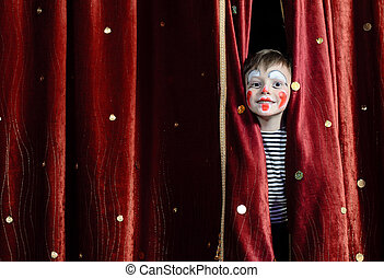 Boy Clown Peering Through Stage Curtains - Young Boy Wearing...