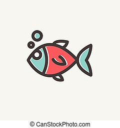 Little fish thin line icon - Little fish icon thin line for...