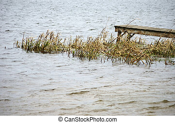 Rickety jetty in Lake - A rickety and rusted bridge towers...