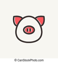 Pig face thin line icon - Pig face icon thin line for web...
