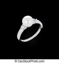 Diamond ring with pearl on black background