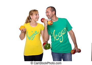 Fit without meat - Man and woman feeling fit with meatless...