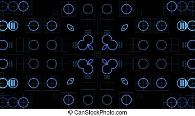 Blue circles, bubbles and abstract equalizer