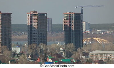 Buildings Novosibirsk - View of the high-rise apartment...