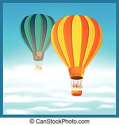 Air balloons in the clouds - Stylized vector illustration on...