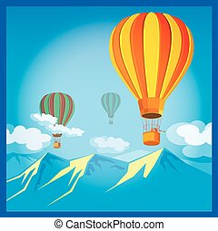 Air Balloons over the mountains - Stylized vector...