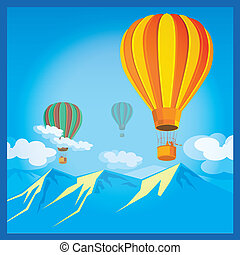 Air Balloons over the mountains - Stylized illustration on...