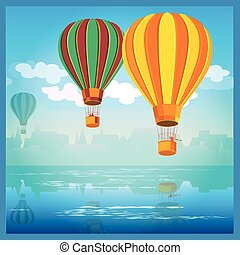 air balloons over water