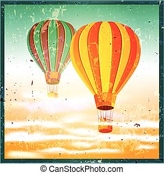 old poster with air balloons - Stylized vector illustration...