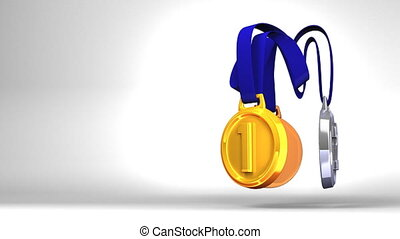 Rotating 3 Medals - Rotating 3Medals On White Text Space...