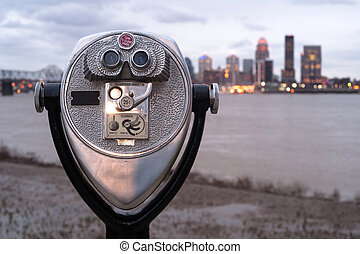 Pay to View Public Magnifying View Binoculars Riverside Park...