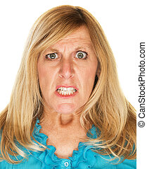 Mad Woman Scowling - Single mad scowling blond female over...