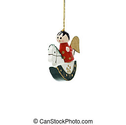 Wooden Christmas decoration with angel on horse isolated on...