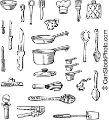 Hand-drawn Cookware Illustrations - A set of hand-drawn...