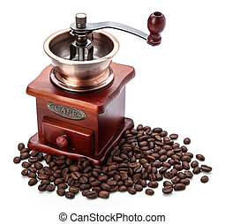 Fresh Coffee Bean And Coffee Bean Grinder - Coffee bean...