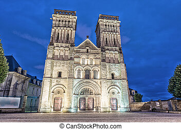 Women Abbey in Caen, France. Night view.