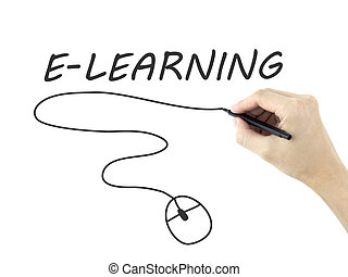 e-learning word written by mans hand on white background