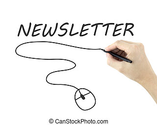 newsletter word written by mans hand on white background
