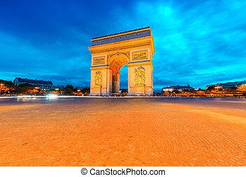 Arc de Triomphe illuminated at night, Paris