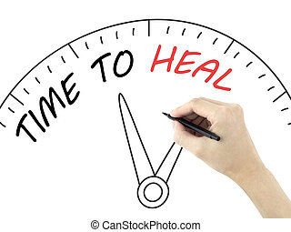 time to heal written by mans hand on white background