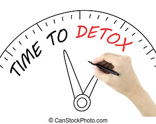 time to detox words written by mans hand over white