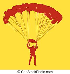 Parachutist Jumper in the helmet after the jump Vector...