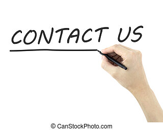 contact us words written by mans hand on white background