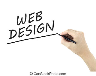 web design words written by mans hand on white background