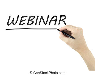 webinar word written by mans hand on white background