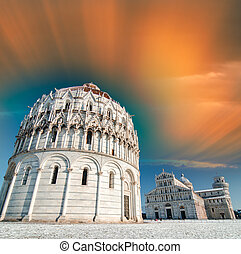 Pisa, Baptistery in Square of Miracles after snowfall