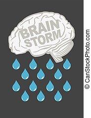 Brainstorm Metaphor Vector Illustration - Human brain with...