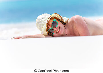 Beautiful sexy lady in hat on the sand beach - Art photo of...