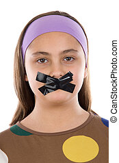 Beautiful girl with adhesive on her mouth isolated over...