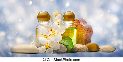 Apple tree flowers, stones and shampoo - Apple tree flowers,...