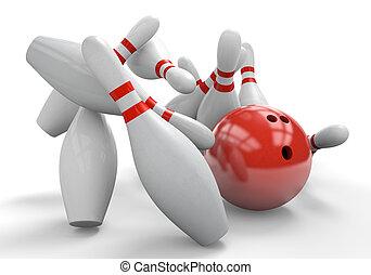 Red bowling ball smashing into pins