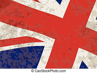 Union Jack Flag waving with grunge effect