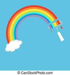 Rainbow one cloud in the sky and paint roller with drops. Dash line.