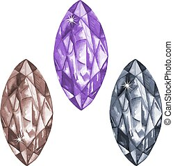 Marquis cut watercolour gems set - Watercolor marquis cut...