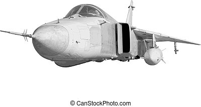 Military jet bomber Su-24 Fencer flying a white background. Vect