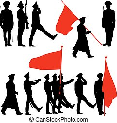 Silhouette military people with flags collection Vector...
