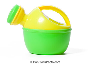 toy plastic watering can isolated on white